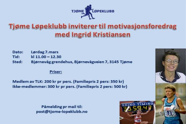 Motivasjonsforedrag med Ingrid Kristiansen